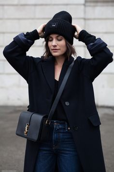 Winter Essential: Navy Maxi Coat & Chunky Beanie I