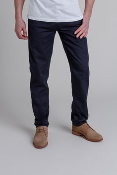 Navy chinos and brown shoes