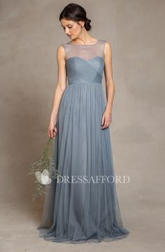 0d1718e68858 country style Tulle Sleeveless Bridesmaid Dress With Criss cross. Damigelle  D onore GrigieAbiti Da ...