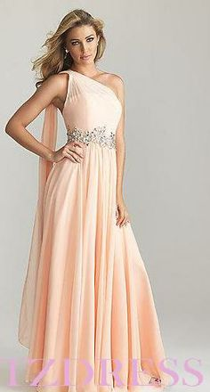 Red/nude Long One shoulder Evening dress Wedding bridesmaid Formal Prom Gown New