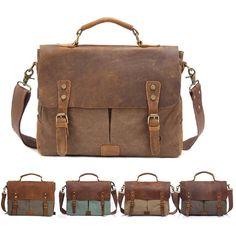 Men's Leather Canvas Laptop Messenger Shoulder Bag  Business Briefcase Satchel #Unbranded #MessengerShoulderBag