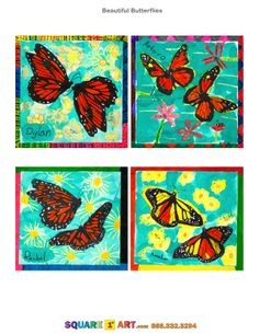 Eerst bloemen als achtergrond verven. Daarna 2 vlinders tekenen en/of inkleuren. Deze uitknippen en op een (3D) wijze opplakken