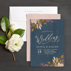 Rustic Leaves Wedding Invitations | Elli
