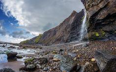 Wodospad, Góry, Skały, Kamienie