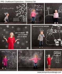 Chalkboard Expressions: Christmas chalk overlays, brushes and elements for Photoshop template backgrounds