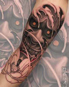 Samurai Mask Tattoo, Hannya Mask Tattoo, Hanya Tattoo, Wicked Tattoos, Badass Tattoos, Body Art Tattoos, Koi Tattoo Design, Japan Tattoo Design, Japanese Demon Tattoo