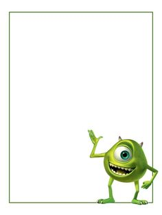 """Monsters Inc - Mike - Project Life Journal Card - Scrapbooking ~~~~~~~~~ Size: 3x4"""" @ 300 dpi. This card is **Personal use only - NOT for sale/resale** Logo/clipart belongs to Disney/Pixar. *** Click through to photobucket for more versions of this card ***"""