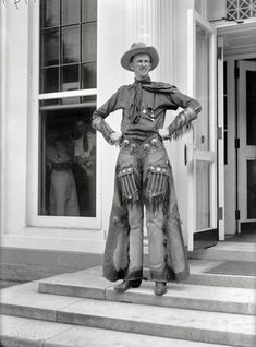 "Washington, D.C., 1919. ""Ralph E. Madsen, the tall cowboy, at White House."" Harris & Ewing Collection glass negative"
