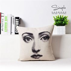 Vintage Fornasetti Art Beauty Face SKULL Custom Made Pillow Cover Black and WHite Pillow Case Pillow Cover Decorative Pillowcas