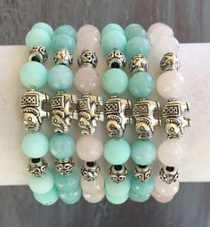 Spring Genuine Gemstone Beaded Bracelets~Elephant Bracelet~Elephant Jewelry~Boho Bracelet~indietiez Etsy