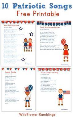 10 Patriotic Songs for Children {free printable!} - Wildflower Ramblings #singingforkids