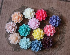 30pcs 27mm Resin Flower Cabochon Cameo Covers Mixed 13 Colors