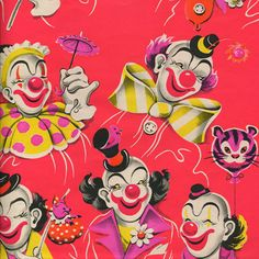 wallpaper for iPhone vintage clown wrapping paper {an owl for every month} 2012 calendar Circus Art, Circus Clown, Circus Theme, Vintage Clown, Send In The Clowns, Pierrot, Vintage Wrapping Paper, Clowning Around, Creepy Clown