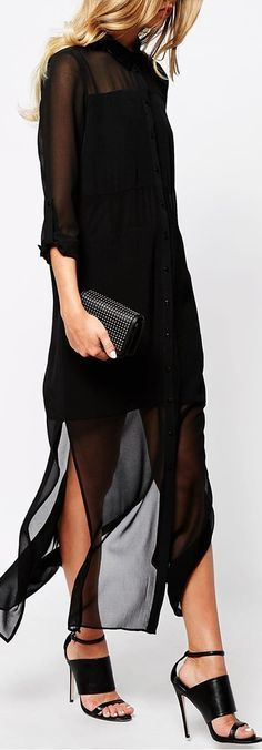 Buy River Island Longsleeve Maxi Shirt Dress at ASOS. With free delivery and return options (Ts&Cs apply), online shopping has never been so easy. Get the latest trends with ASOS now. Look Fashion, Fashion Beauty, Womens Fashion, Fashion Trends, Fashion Styles, Looks Chic, Looks Style, Maxi Shirt Dress, Dress Up