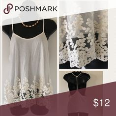 Nabee** stappy top White with cream lace. Just a doll. Slightly longer in front than back. Nabee Tops