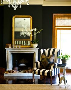 Walls. Dark navy on the chimney breast in the study? Like the blue and white stripe fabric on the armchair.