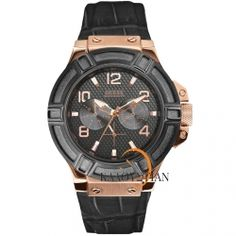 Guess Rose Gold Multifunction Black Leather Strap W0040G5