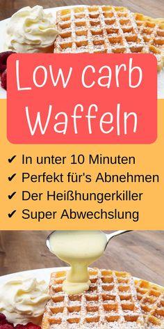 Super schnelle und einfache low carb Waffeln in unter 10 Minuten. Dieses Rezept müssen alle low carb Fans unbedingt ausprobieren!