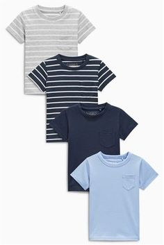 Buy Blue Stripe Short Sleeve T-Shirts Four Pack (3mths-6yrs) from the Next UK online shop