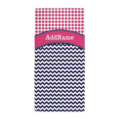 Navy Blue Chevron Hot Pink Dots Custom Beach Towel