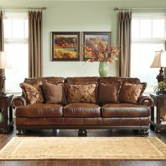 Signature Designs by Ashley 'Hutcherson' Harness Brown Leather Sofa   Overstock.com Shopping - The Best Deals on Sofas & Loveseats