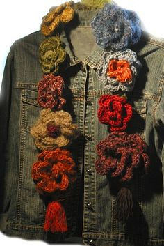 Crochet flower scarf by michael
