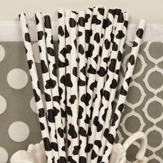 COW PRINT Paper Straws for FARM Parties, 25 Black Cow Print Paper Drinking Straws with  Diy Flags, Farm Animals, Birthday Party. $4.50, via Etsy.