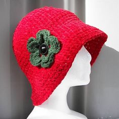 Elegant Hand Crocheted Vintage 1920's Style Cloche RED Hat with removable flower