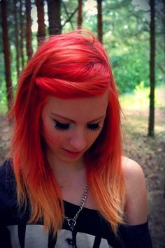 hair, hair color, orange hair, orange, red, red hair, tips, multi-colored hair. It looks kind if like fire.... I like it