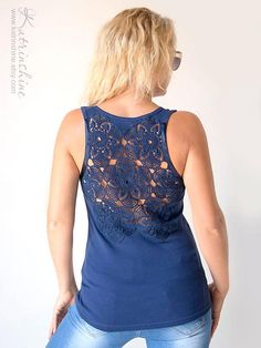 Dark blue Tank Top with upcycled vintage crochet by katrinshine