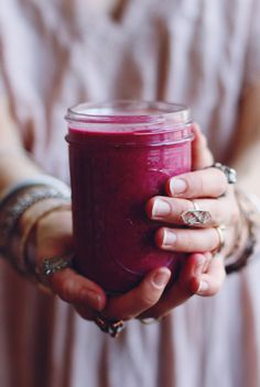Beet Raspberry Smoothie: 1 cup frozen red berries (I used strawberries and raspberries) 1/4 cup thinly sliced raw beet 1/2 - 1 banana 1 tbs flax seed 1 tbs almond butter 1 tsp pure vanilla extract 8 oz. unsweetened almond milk