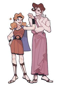 Hercules and Meg genderbent Gender Bent Disney, Disney Gender Swap, Disney Gender Bender, Disney Fan Art, Disney Love, Disney And More, Disney Magic, Disney And Dreamworks, Disney Pixar