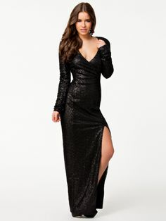 Black Wrapover Split Maxi Dress. Super Chic and Classy for New Years Eve
