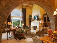 Tuscan Fireplace Design, Pictures, Remodel, Decor and Ideas - page 3 Tuscan Living Rooms, Mediterranean Living Rooms, Mediterranean Decor, Mediterranean Architecture, Design Toscano, Brick Archway, Estilo Interior, Interior And Exterior, Interior Design