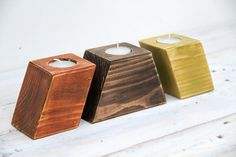 Woodeen candle holders, geometric, yew, walnut, lime geometric cubes, distressed, customized gift, or candle holder