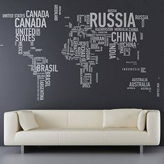 Love to Travel & want to show that in your home decor?  You could even add color to the names of your favorite places!