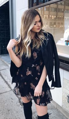 #winter #outfits black and white floral midi dress with jacket