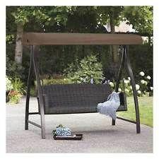 Garden Swing Bench   AGIO 3 SEAT CAPE TOWN WEAVE SWING CANOPY   NEW