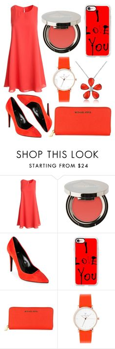 """""""pink-red ish feeds❤️"""" by alda-naura ❤ liked on Polyvore featuring Sans Souci, Juice Beauty, Pierre Hardy, Casetify, MICHAEL Michael Kors, Laruze, Del Gatto, GetTheLook, StreetStyle and fashionset"""
