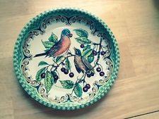 "ROBIN metal tin DAHER tray ENGLAND bird branch berry 6.5"" round"