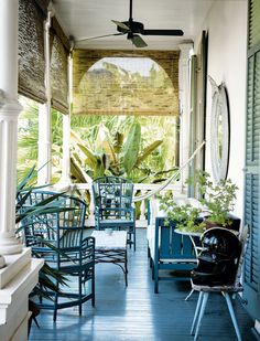 A shady back porch — in a storied pink house in the Garden District of New Orleans — is the perfect place for a nap. Sara Ruffin Costello, a writer and the former creative director of Domino magazine, painted the shades and furniture the same color. Decor, New Orleans Decor, House, Outdoor Spaces, New Orleans Homes, New Homes, Pink Houses, Home Decor, House Interior
