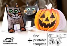 "No-Glue Halloween Paper Toys For Kids - by Krokotak == ""We have a real passion for paper toys. Kids can color them in, cut them following a simple outline, fold them and assemble them. All very practical skills to master and they end up with a toy they can be proud of."" - Krokotak"