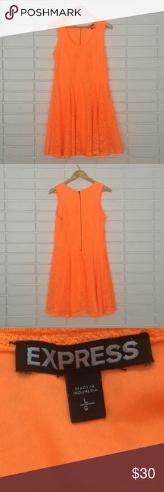 Express Orange Skater Dress with Knit Mesh Overlay Express Orange Skater Dress with Knit Mesh Overlay! Size L. Excellent condition! Super cute statement dress - can dressed up or down easily! Express Dresses Midi