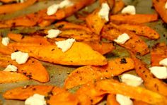Sweet potato wedges with thyme and goat cheese