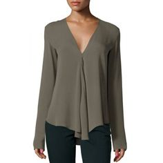 Chic V Neck Long Sleeve Pure Color Asymmetrical Women's Blouse (GRAY,XL) in Blouses | DressLily.com