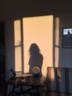 The setting sun castes shifting shadows across the living room