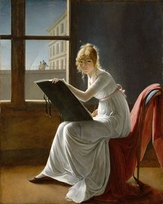 Young Woman Drawing (self-portrait) - Marie-Denise Villers