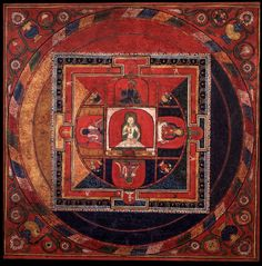 Mandala of Vajrapani (Bodhisattva & Buddhist Deity) - (Sarvadurgati Tantra, Four Kings) Central Tibet  1400 - 1499  Sakya and Ngor (Sakya) Lineages   Ngor Painting School  Collection of The Brooklyn Museum of Art  In the surrounding four main and intermediate directions on a large eight sectioned dias are the 4 Great Kings of the Directions each with one face and two hands holding their own unique symbols; wearing flowing garments, adorned with jewel and gold ornaments.