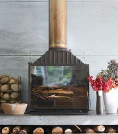 Cheminees Phillippe fire place with copper flue