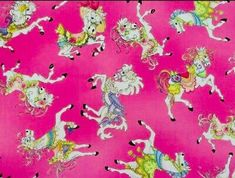 """Loralie Harris Designs """"CAROUSEL"""" Fabric HORSES PINK 100% Quilt Cotton RARE OOP 